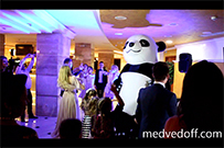 Panda blows wedding dance floor